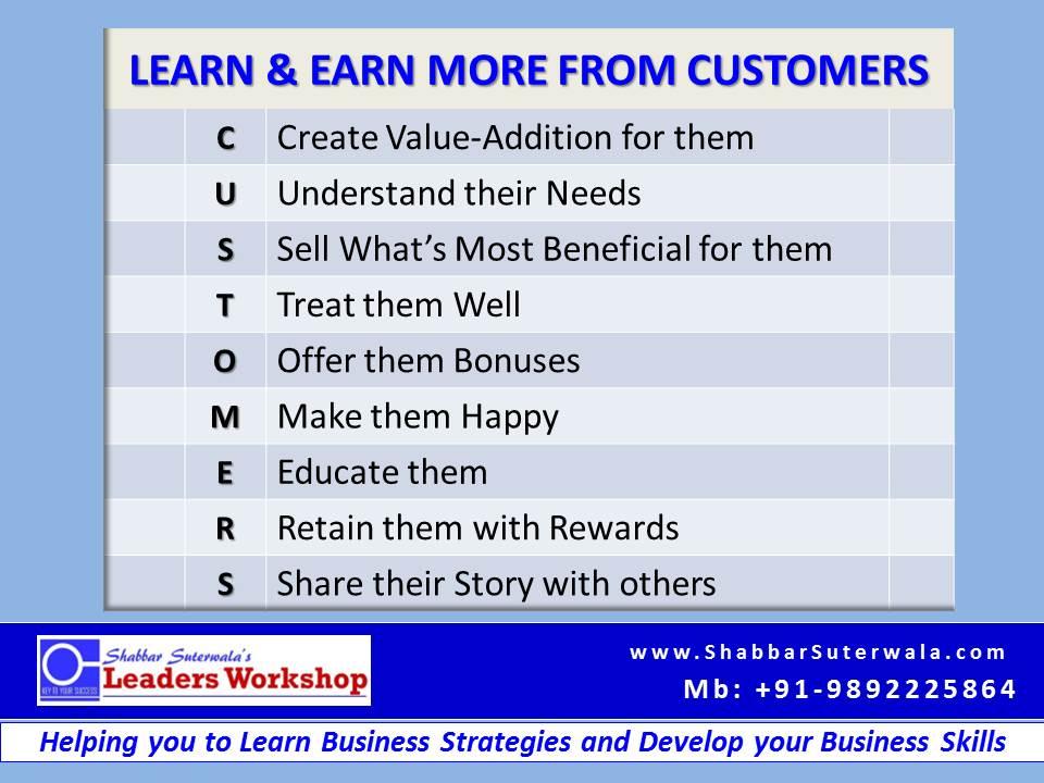 Learn & Earn from Cusomters